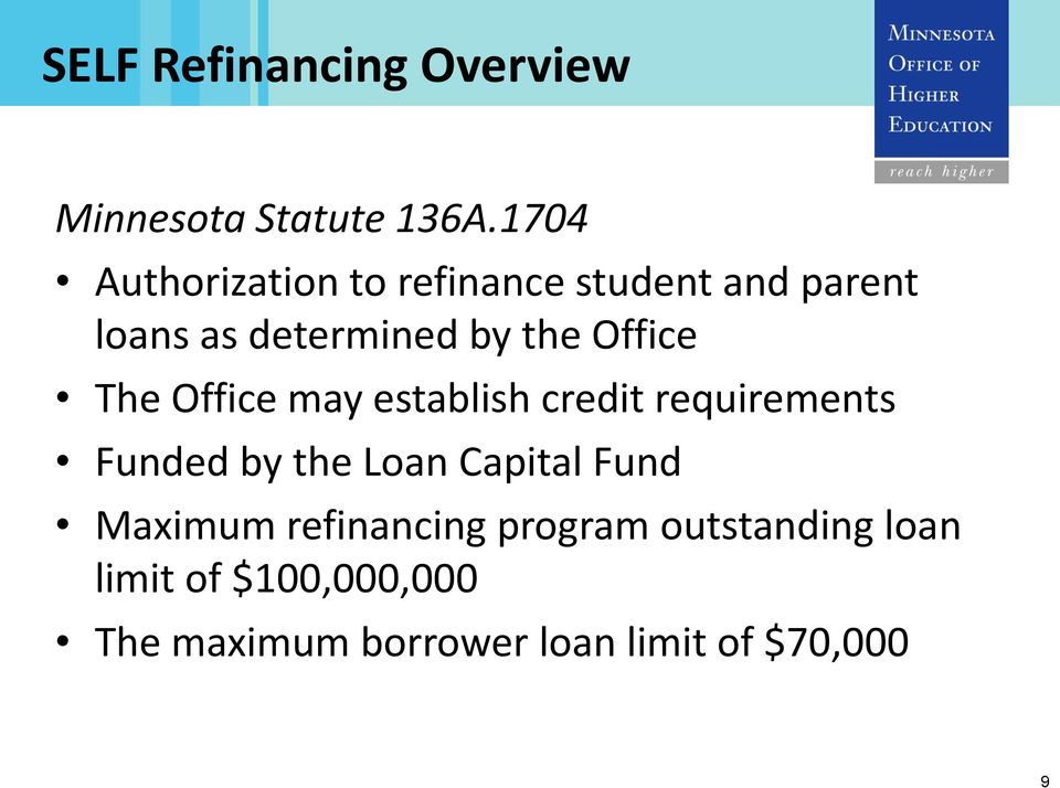 Office The Office may establish credit requirements Funded by the Loan Capital