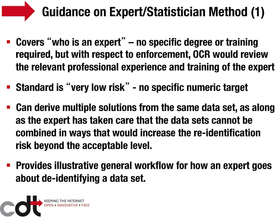 multiple solutions from the same data set, as along as the expert has taken care that the data sets cannot be combined in ways that would increase