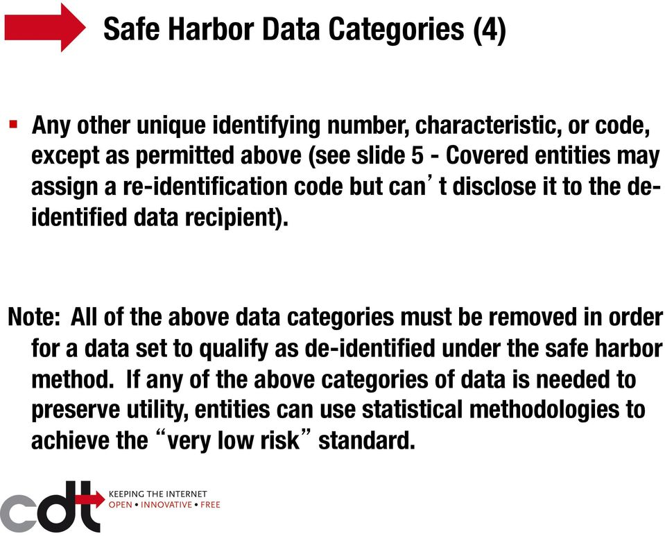 Note: All of the above data categories must be removed in order for a data set to qualify as de-identified under the safe harbor