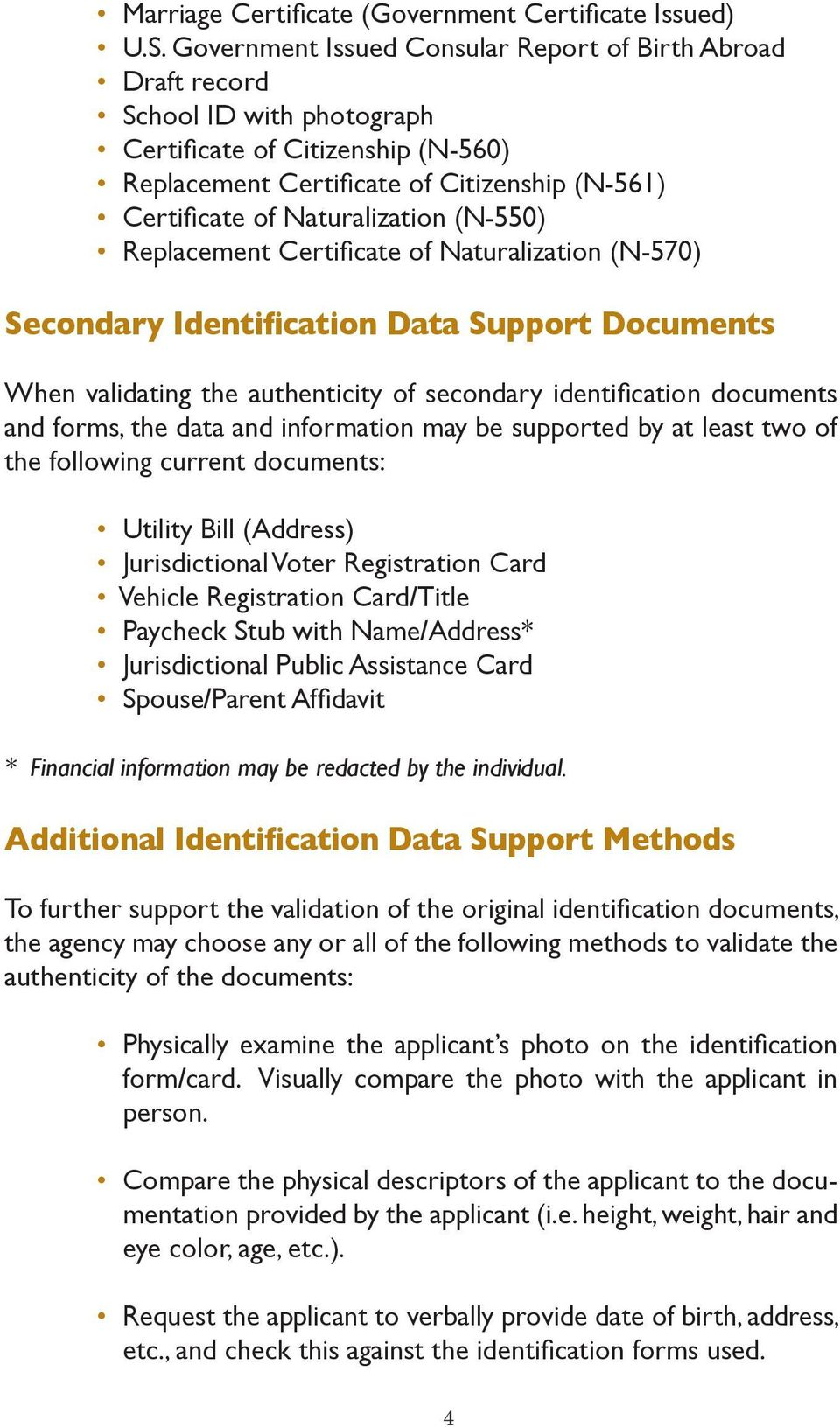 Naturalization (N-550) Replacement Certificate of Naturalization (N-570) Secondary Identification Data Support Documents When validating the authenticity of secondary identification documents and