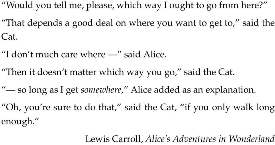 I don t much care where said Alice. Then it doesn t matter which way you go, said the Cat.