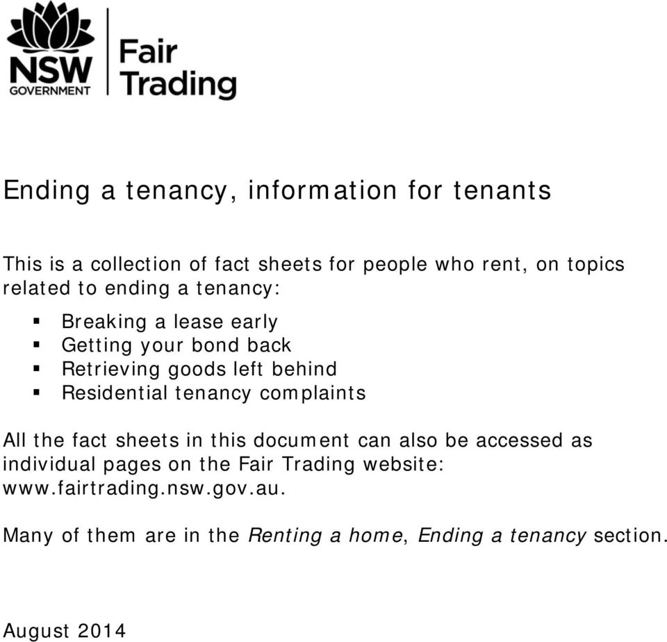 Residential tenancy complaints All the fact sheets in this document can also be accessed as individual pages on