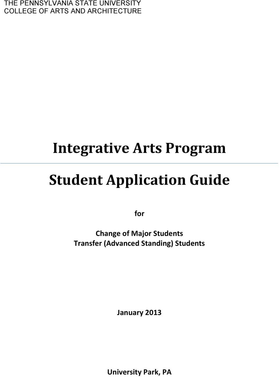 Application Guide for Change of Major Students