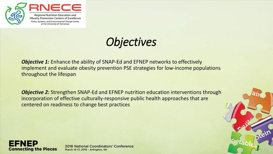 Objective 2: Strengthen SNAP-Ed and EFNEP nutrition education interventions through incorporation of