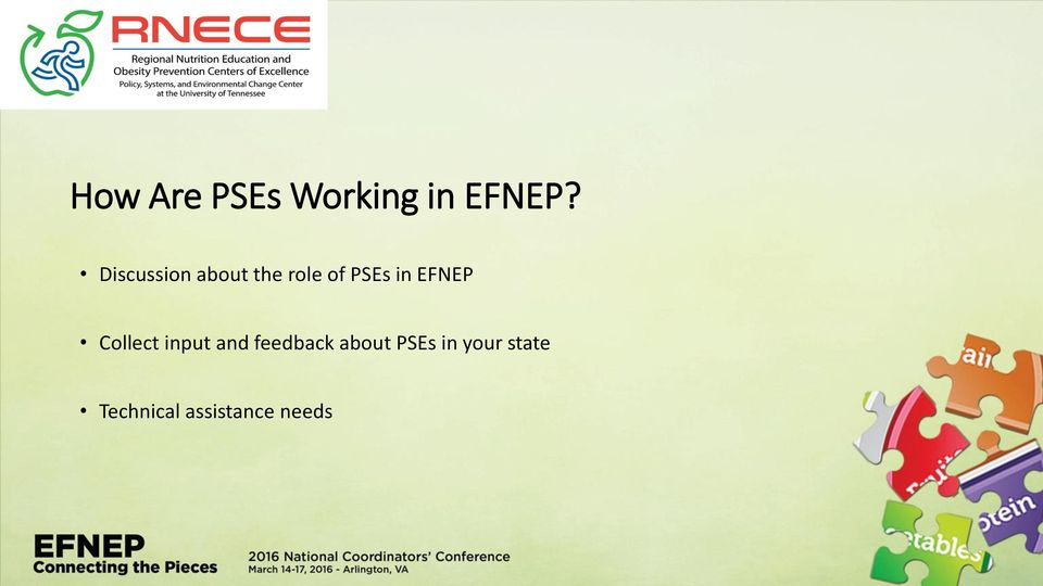 EFNEP Collect input and feedback