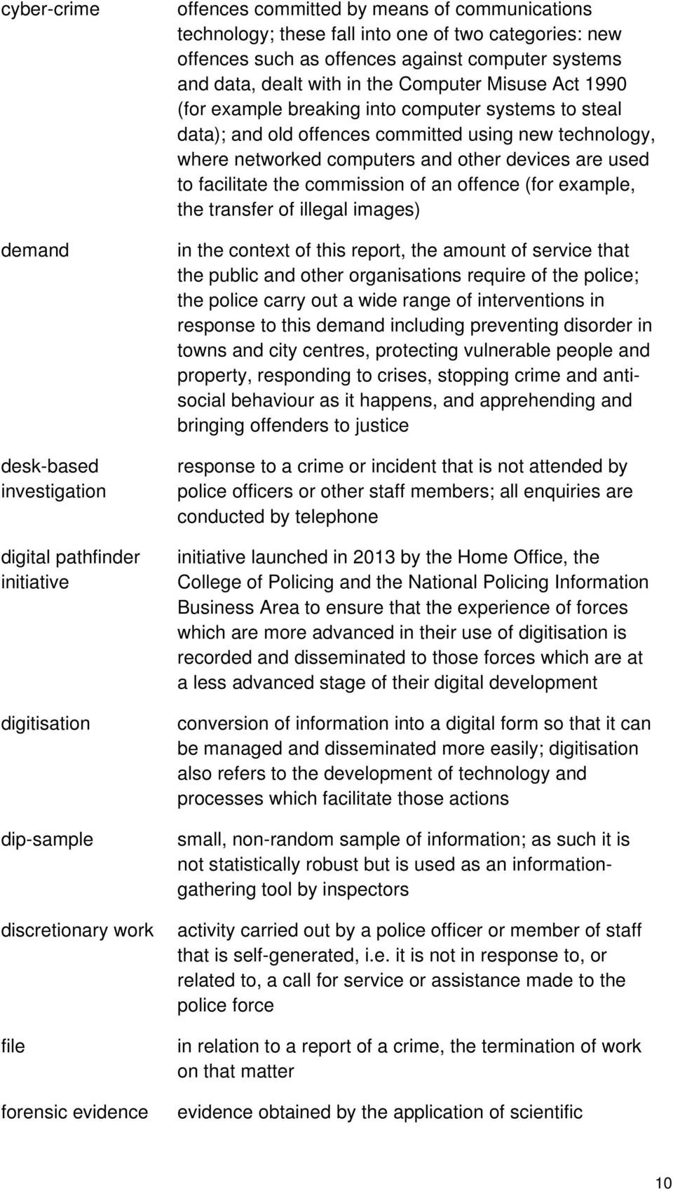 data); and old offences committed using new technology, where networked computers and other devices are used to facilitate the commission of an offence (for example, the transfer of illegal images)