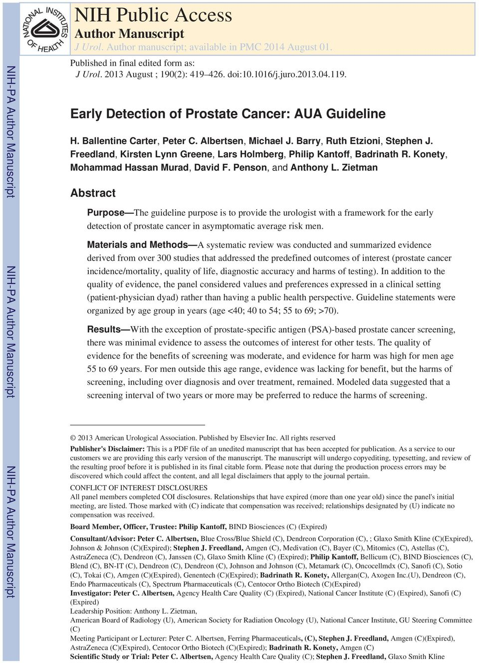 Early Detection of Prostate Cancer: AUA Guideline H. Ballentine Carter, Peter C. Albertsen, Michael J. Barry, Ruth Etzioni, Stephen J.