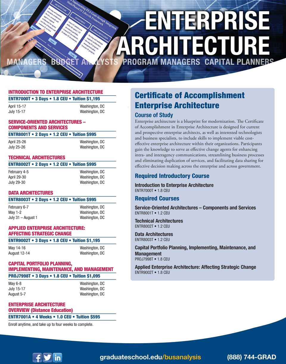 2 CEU Tuition $995 February 6-7 May 1-2 July 31 August 1 APPLIED ENTERPRISE ARCHITECTURE: AFFECTING STRATEGIC CHANGE ENTR9002T 3 Days 1.