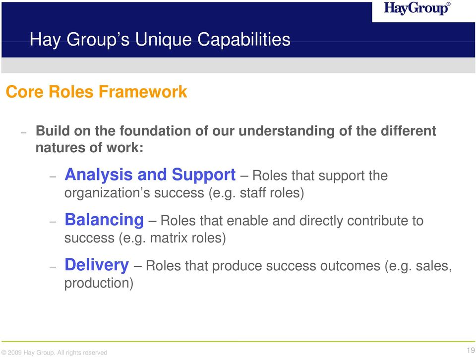 organization s success (e.g. staff roles) Balancing Roles that enable and directly contribute to success (e.