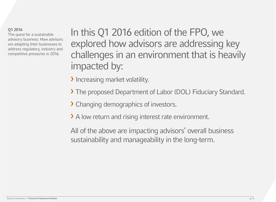 In this Q1 2016 edition of the FPO, we explored how advisors are addressing key challenges in an environment that is heavily impacted by: