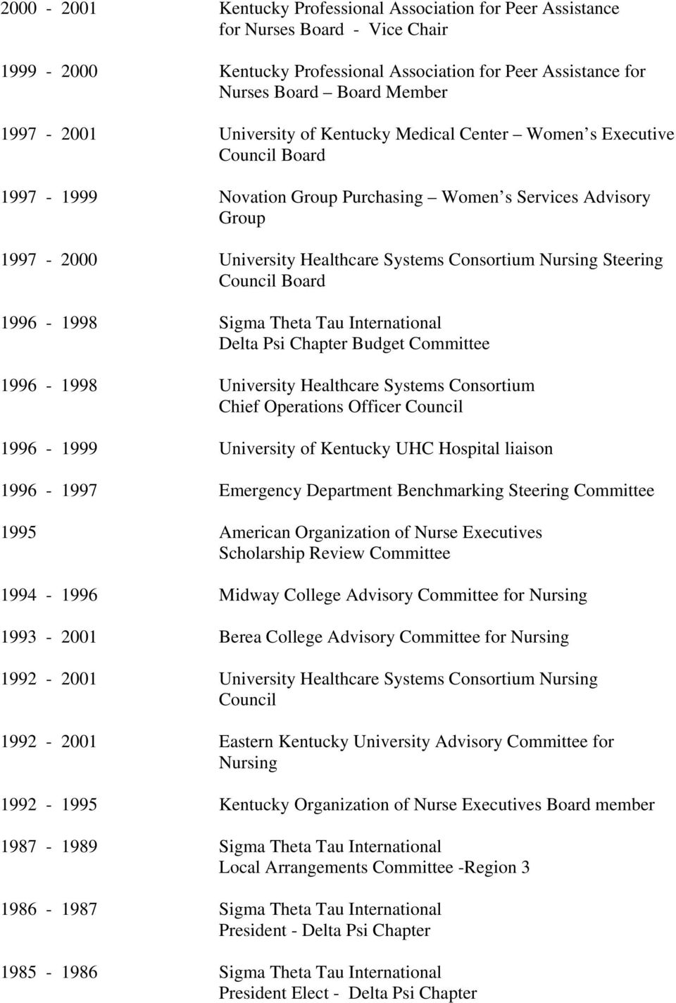Steering Council Board 1996-1998 Sigma Theta Tau International Delta Psi Chapter Budget Committee 1996-1998 University Healthcare Systems Consortium Chief Operations Officer Council 1996-1999