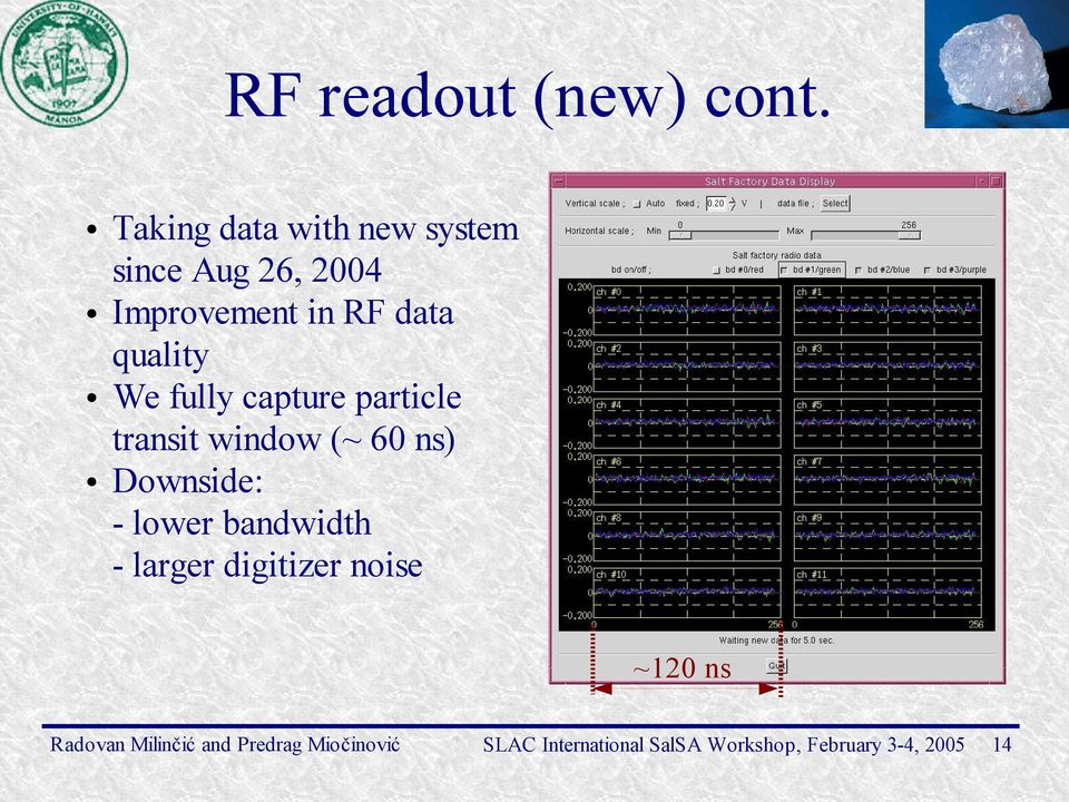 Improvement in RF data quality We fully capture