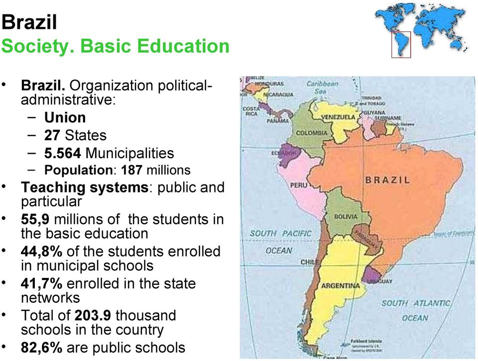 millions of the students in the basic education 44,8% of the students enrolled in municipal