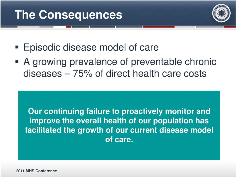 continuing failure to proactively monitor and improve the overall health