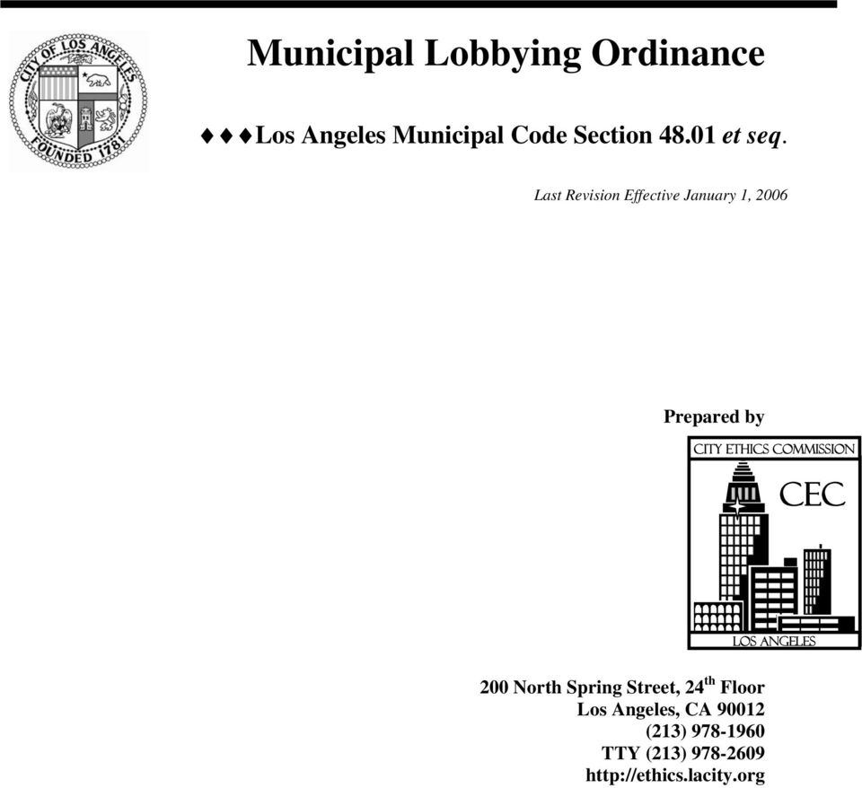 Prepared by City Ethics Commission CEC Los Angeles 00 North