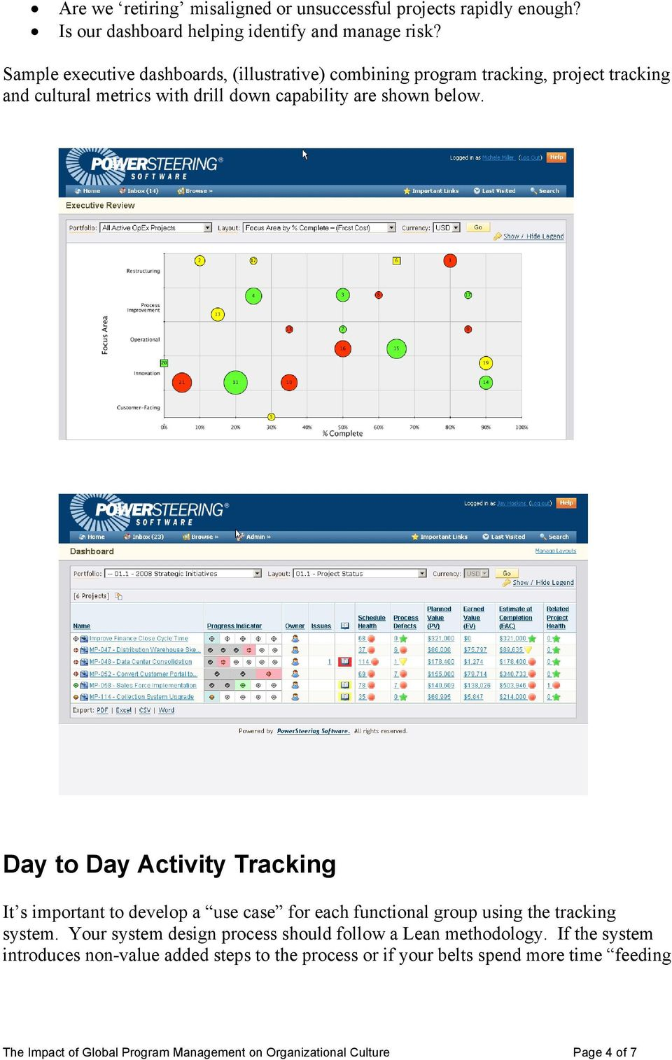 Day to Day Activity Tracking It s important to develop a use case for each functional group using the tracking system.