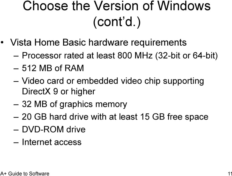 (32-bit or 64-bit) 512 MB of RAM Video card or embedded video chip supporting