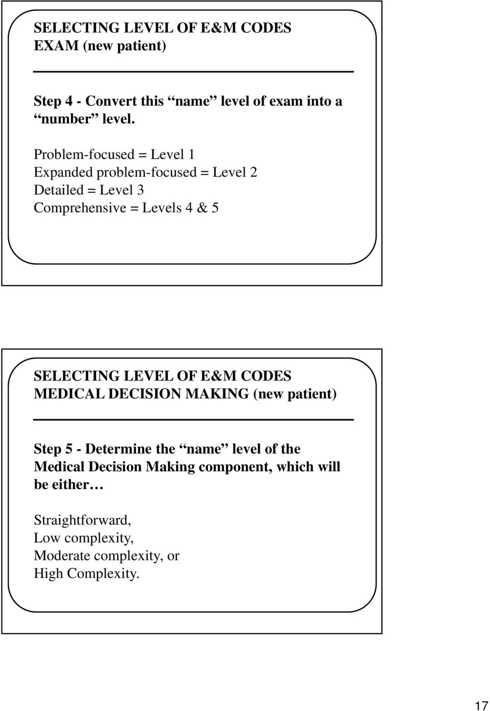 SELECTING LEVEL OF E&M CODES MEDICAL DECISION MAKING (new patient) Step 5 - Determine the name level of the