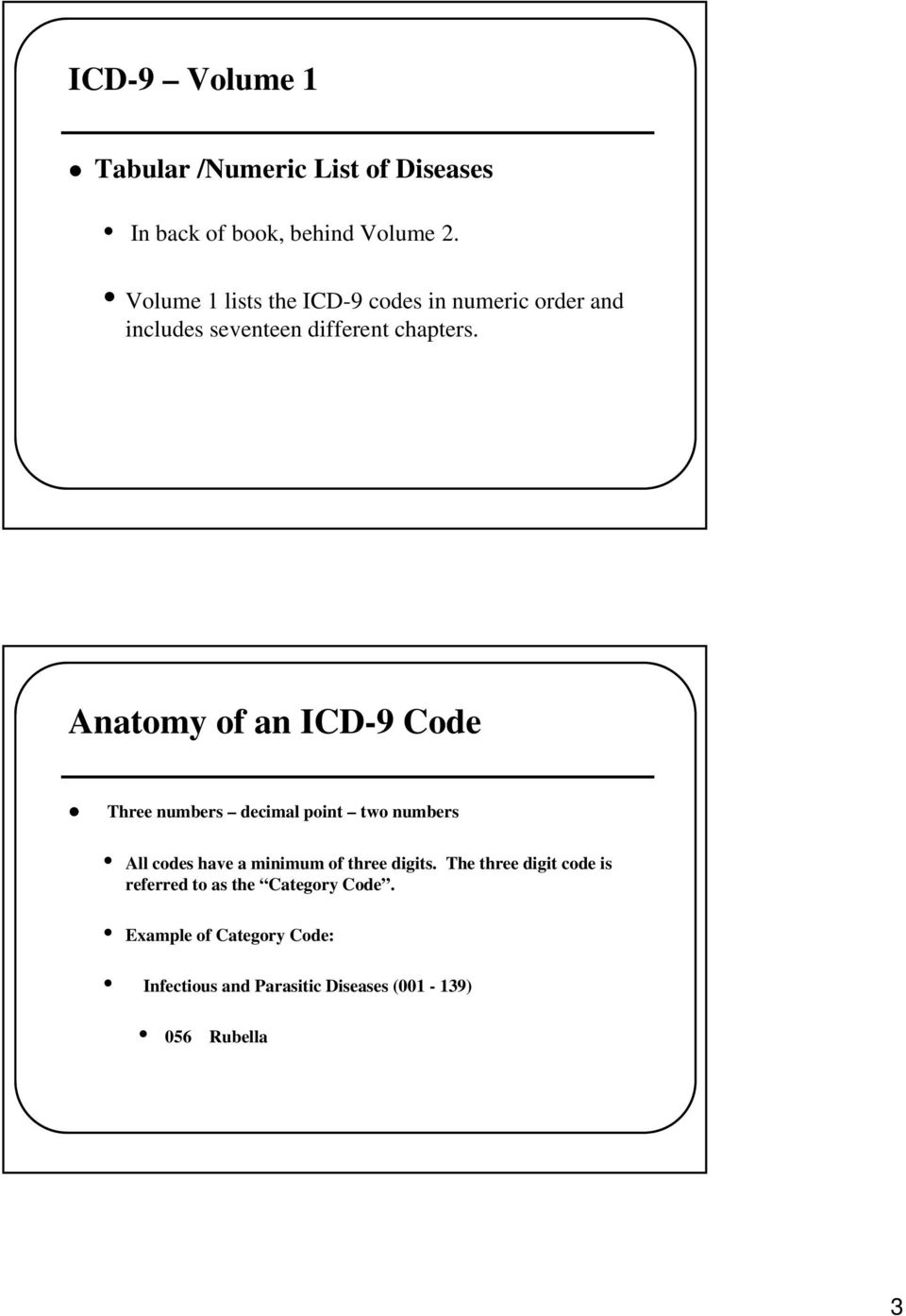 Anatomy of an ICD-9 Code Three numbers decimal point two numbers All codes have a minimum of three digits.