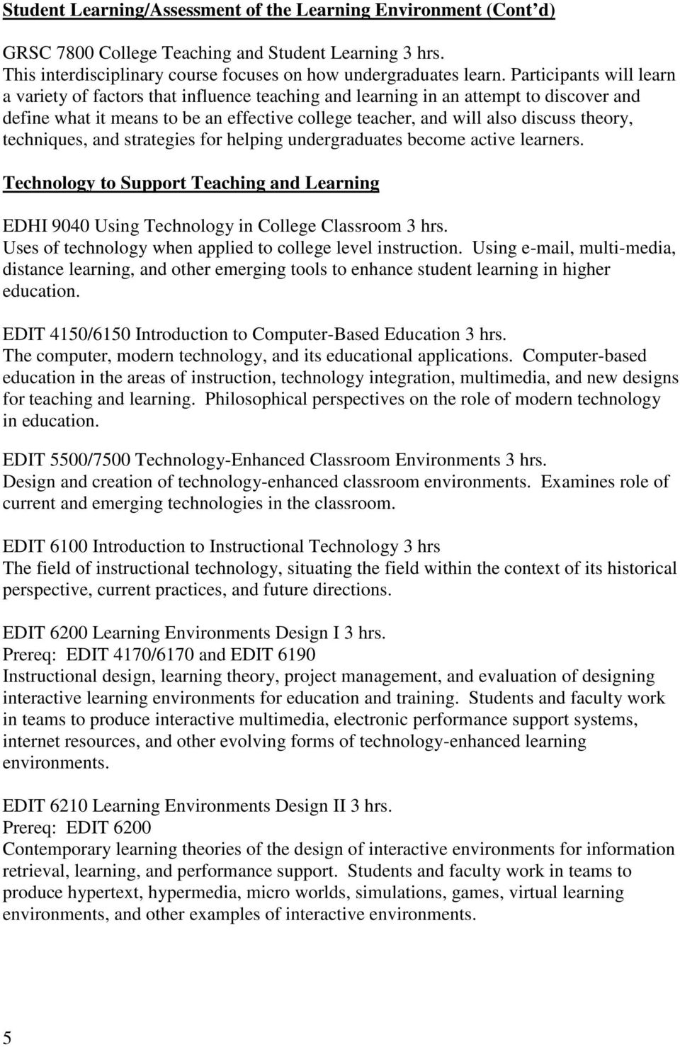 techniques, and strategies for helping undergraduates become active learners. Technology to Support Teaching and Learning EDHI 9040 Using Technology in College Classroom 3 hrs.