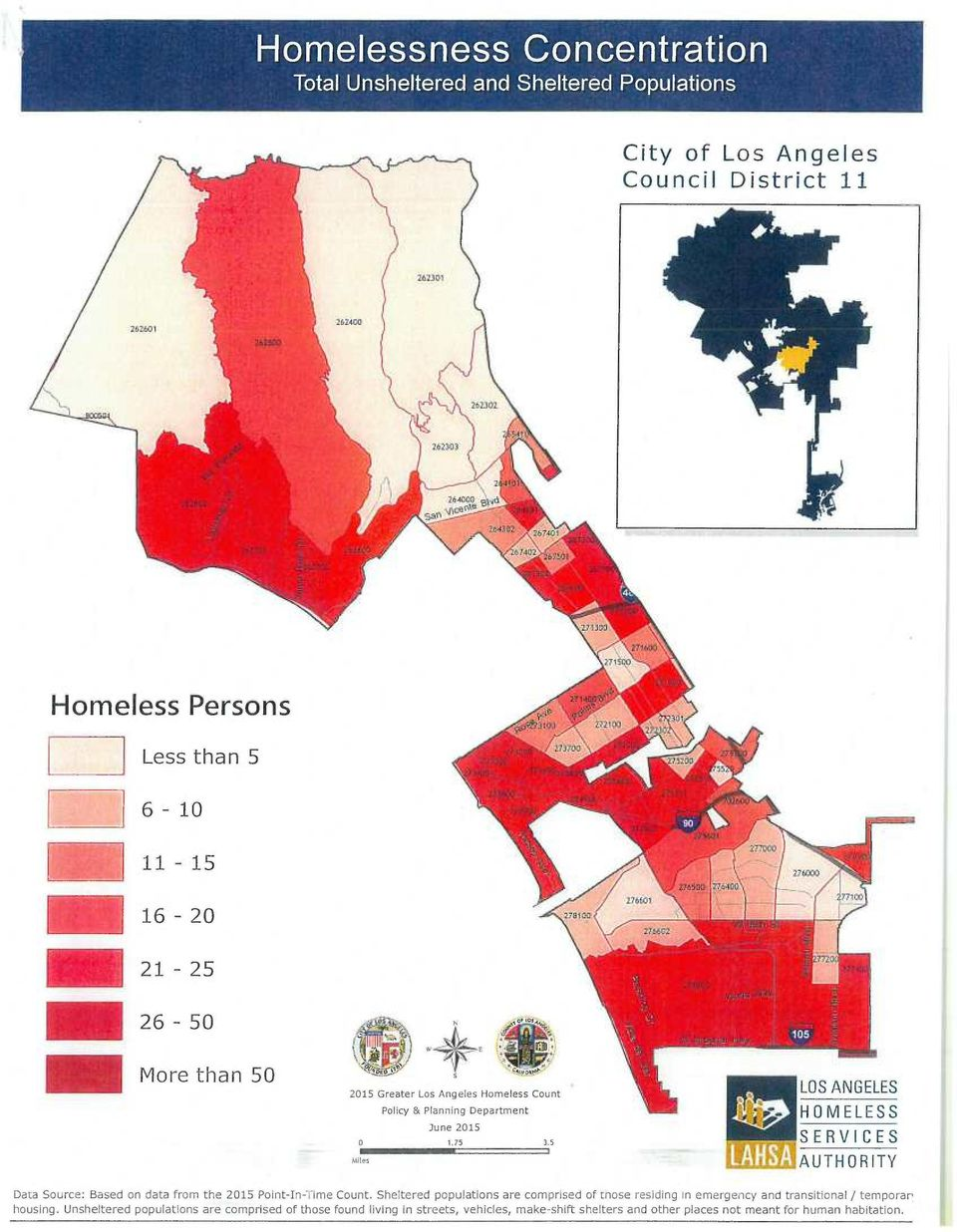 5 Mites LOS ANGELES HOMELESS SERVICES AUTHORITY Data Source: Based on data from the 2015 Point-In-Time Count.