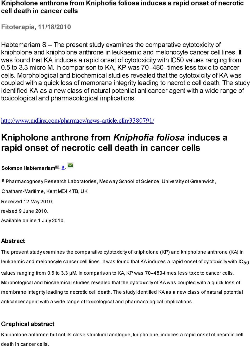 In comparison to KA, KP was 70 480 times less toxic to cancer cells.