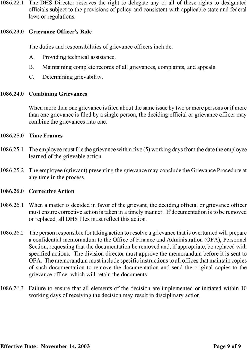 regulations. 1086.23.0 Grievance Officer's Role The duties and responsibilities of grievance officers include: A. Providing technical assistance. B.