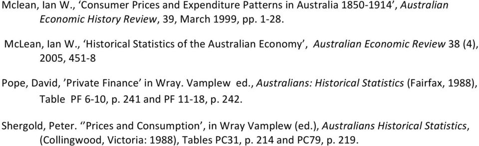 , Historical Statistics of the Australian Economy, Australian Economic Review 38 (4), 2005, 451-8 Pope, David, Private Finance in Wray.