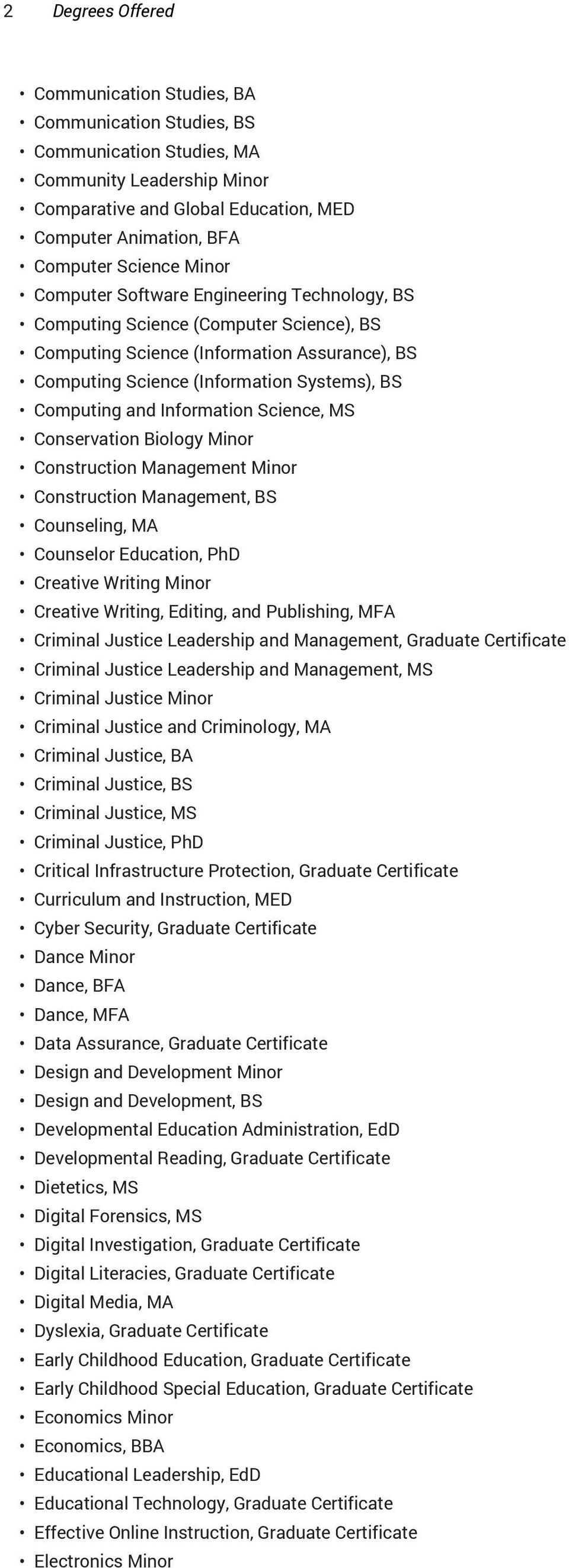 and Information Science, MS Conservation Biology Minor Construction Management Minor Construction Management, BS Counseling, MA Counselor Education, PhD Creative Writing Minor Creative Writing,