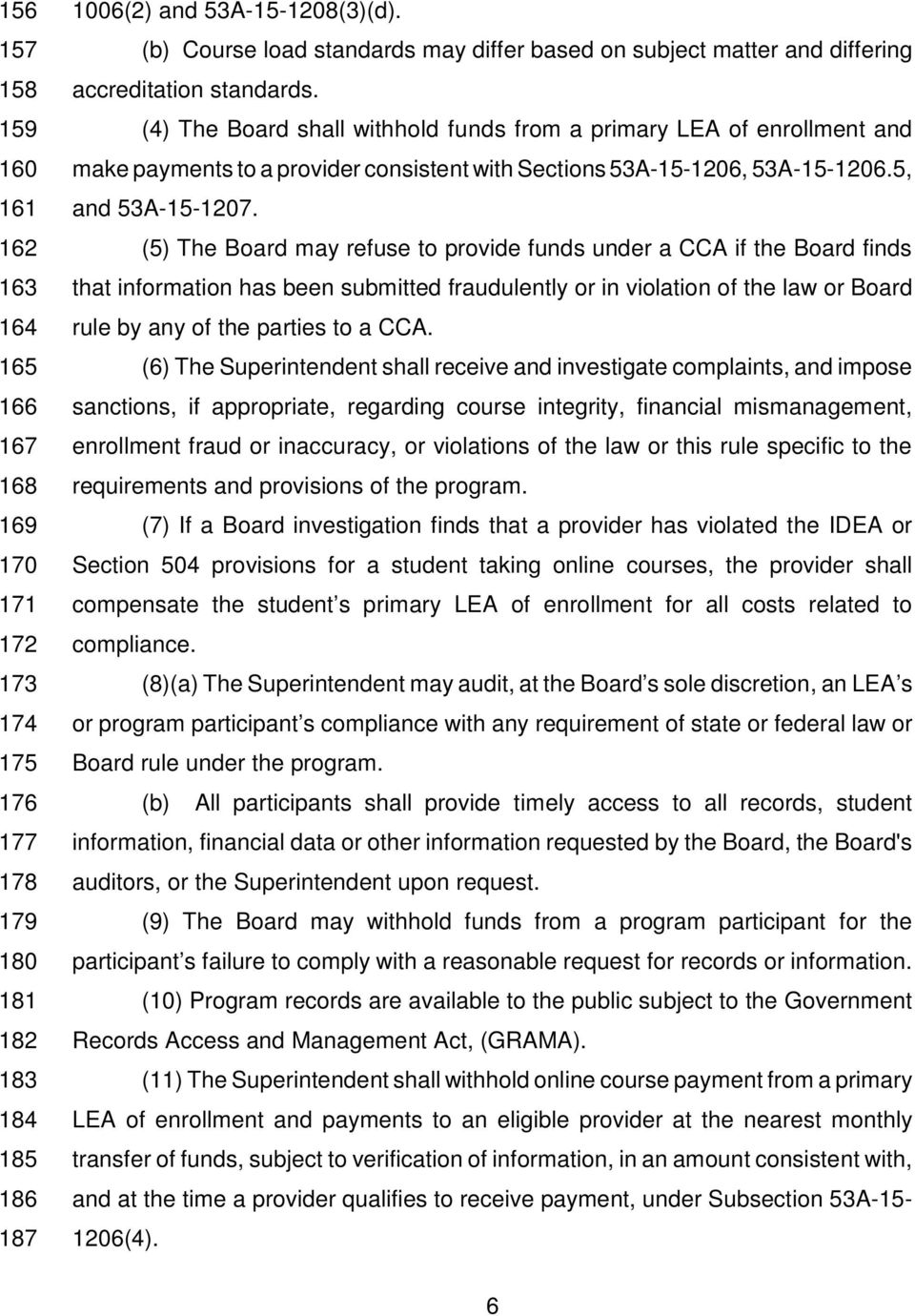 162 (5) The Board may refuse to provide funds under a CCA if the Board finds 163 that information has been submitted fraudulently or in violation of the law or Board 164 rule by any of the parties to