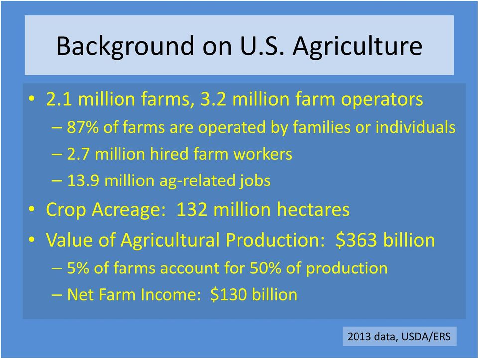 7 million hired farm workers 13.