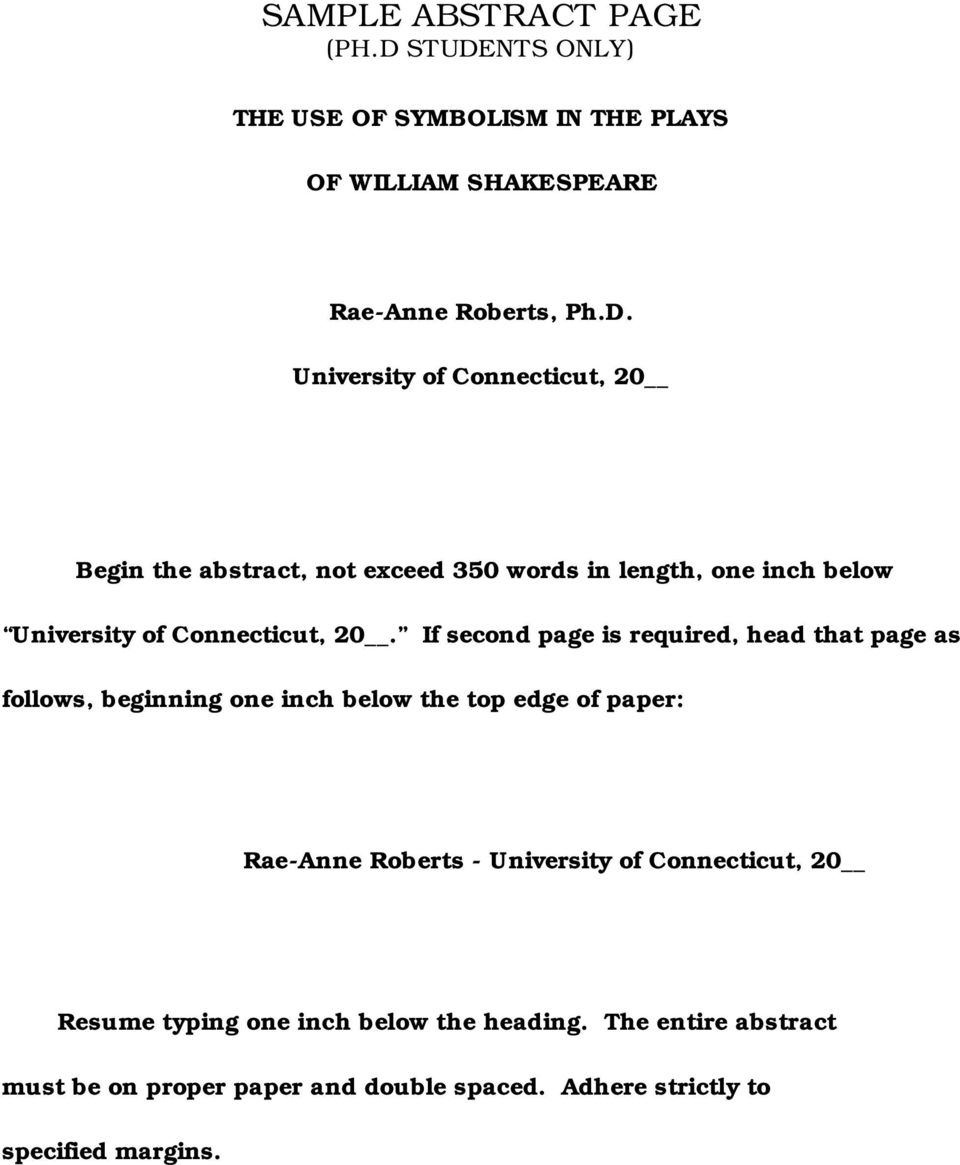 If second page is required, head that page as follows, beginning one inch below the top edge of paper: Rae-Anne Roberts - University of