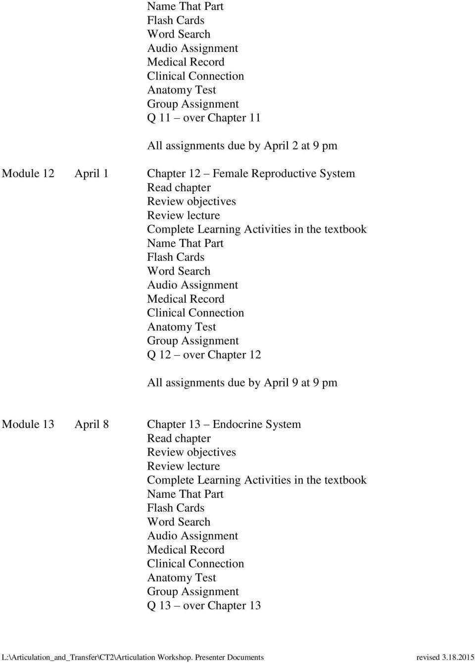 over Chapter 12 All assignments due by April 9 at 9 pm