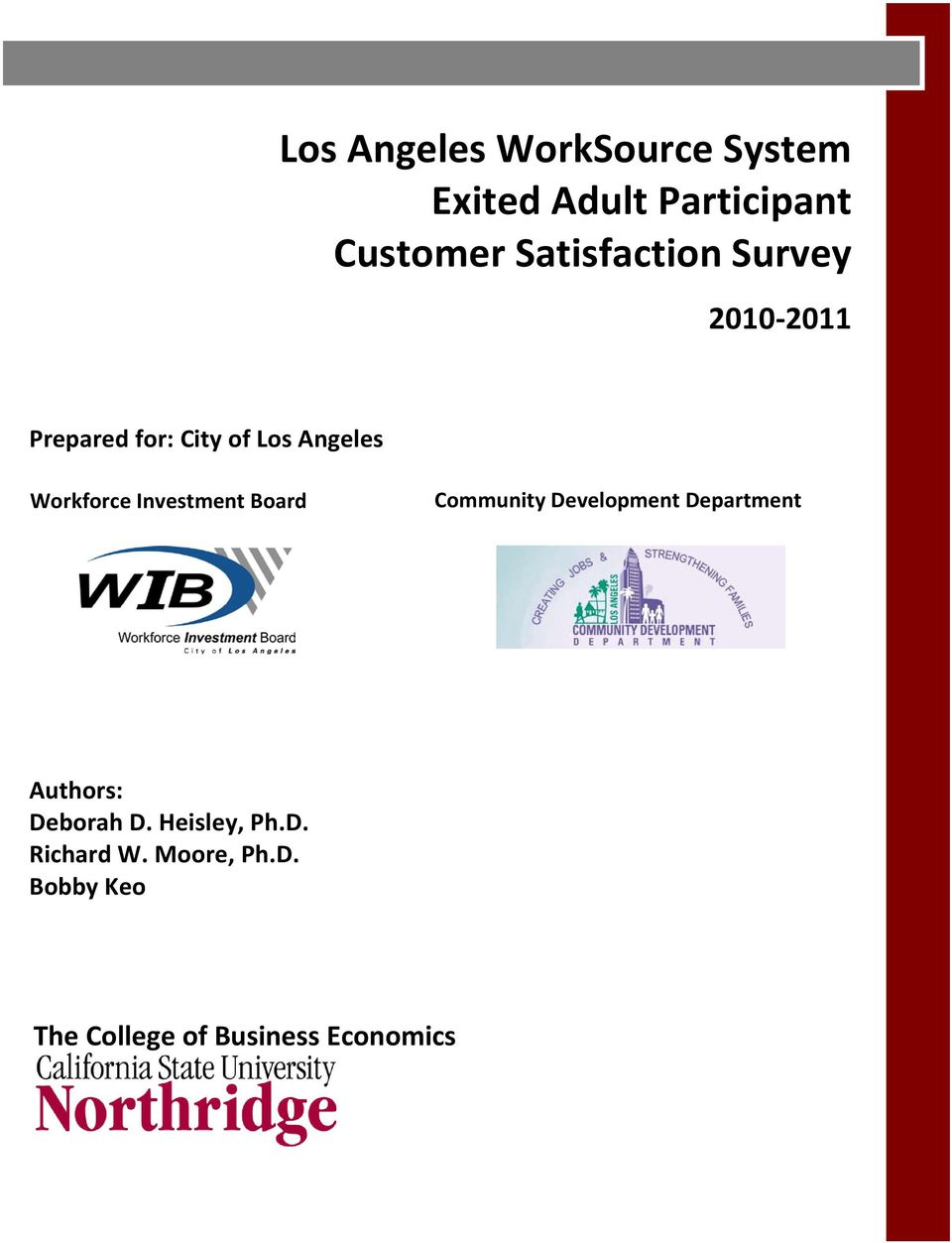 Workforce Investment Board Community Development Department Authors: