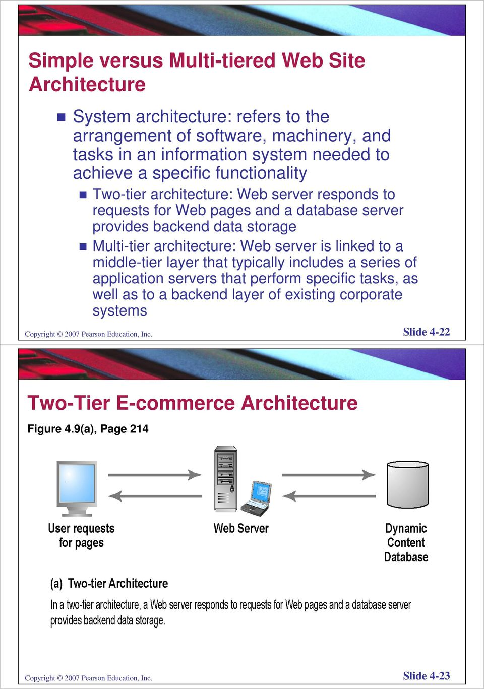 architecture: Web server is linked to a middle-tier layer that typically includes a series of application servers that perform specific tasks, as well as to a backend layer