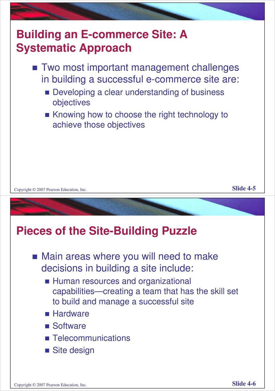 Slide 4-5 Pieces of the Site-Building Puzzle Main areas where you will need to make decisions in building a site include: Human resources and organizational