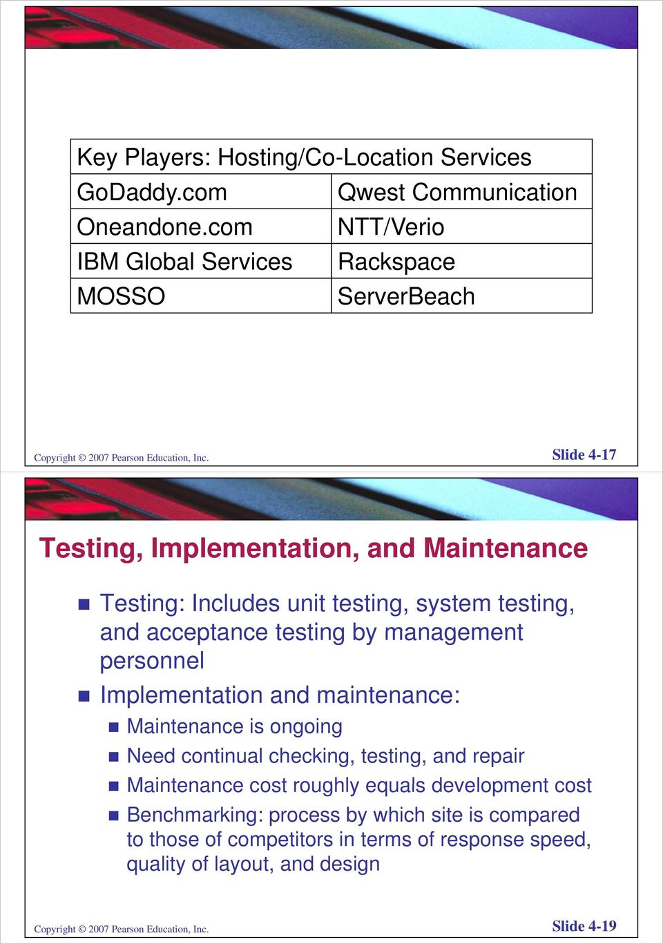 Slide 4-17 Testing, Implementation, and Maintenance Testing: Includes unit testing, system testing, and acceptance testing by management personnel Implementation