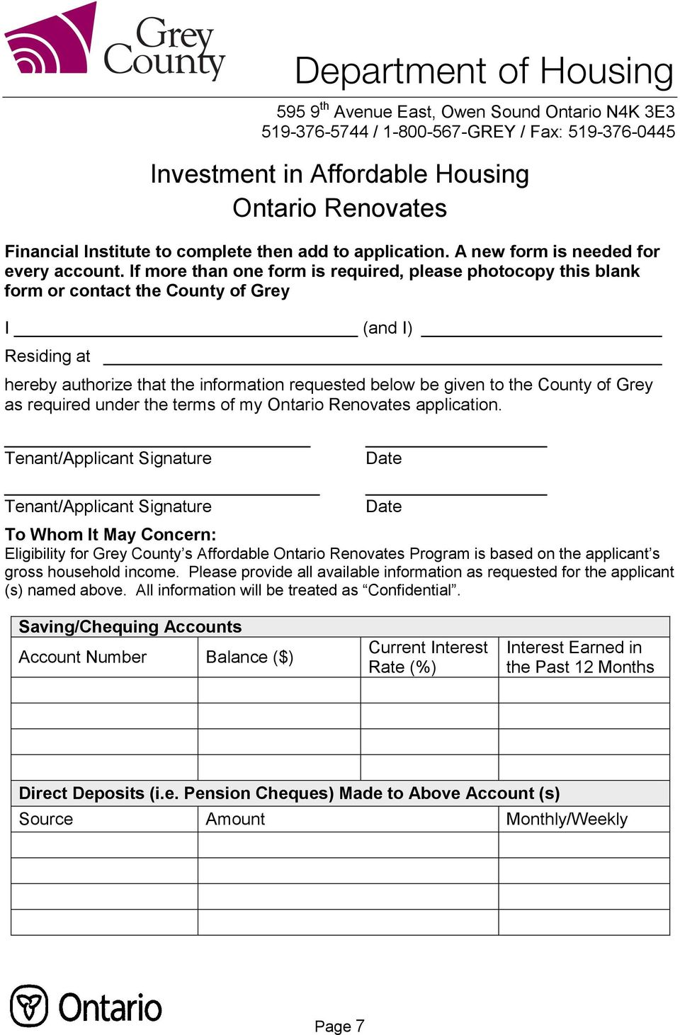 Grey as required under the terms of my Ontario Renovates application.