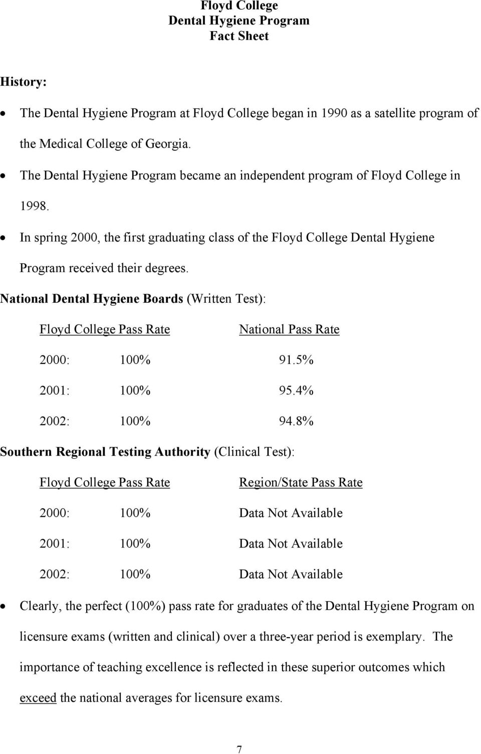 National Dental Hygiene Boards (Written Test): Floyd College Pass Rate National Pass Rate 2000: 100% 91.5% 2001: 100% 95.4% 2002: 100% 94.