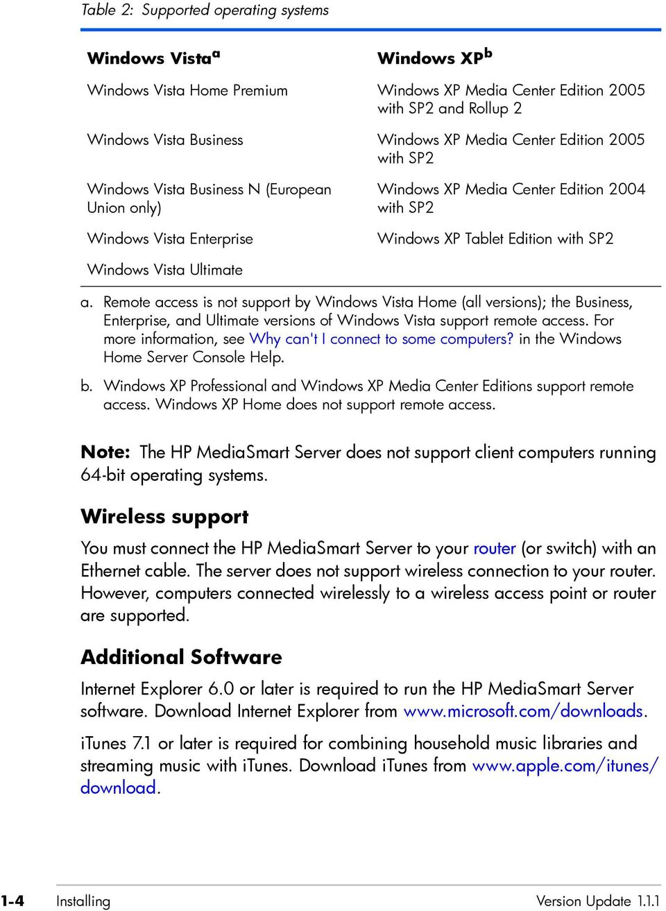 Remote access is not support by Windows Vista Home (all versions); the Business, Enterprise, and Ultimate versions of Windows Vista support remote access.