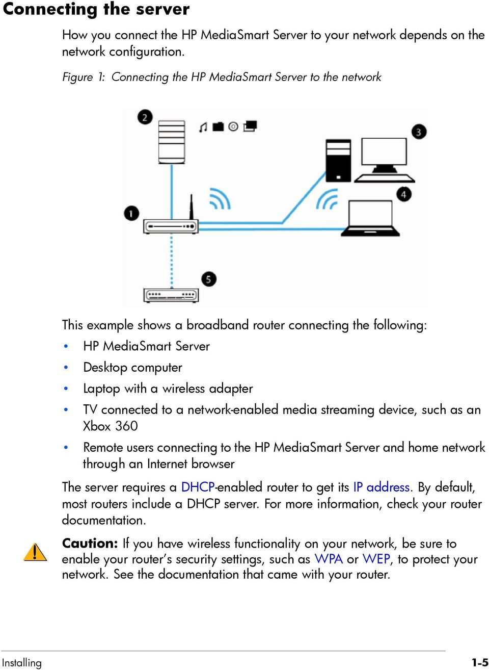connected to a network-enabled media streaming device, such as an Xbox 360 Remote users connecting to the HP MediaSmart Server and home network through an Internet browser The server requires a