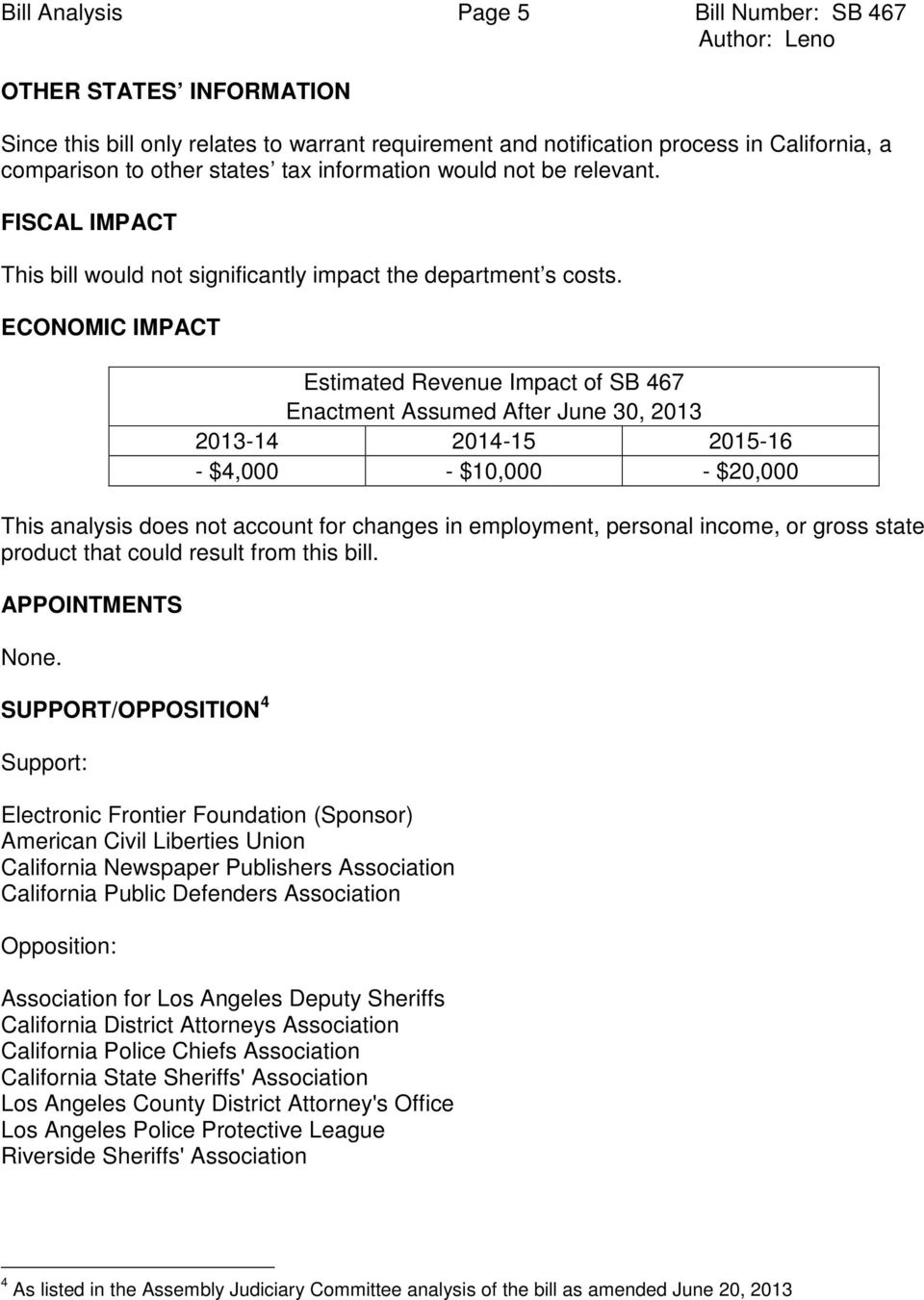 ECONOMIC IMPACT Estimated Revenue Impact of SB 467 Enactment Assumed After June 30, 2013 2013-14 2014-15 2015-16 - $4,000 - $10,000 - $20,000 This analysis does not account for changes in employment,
