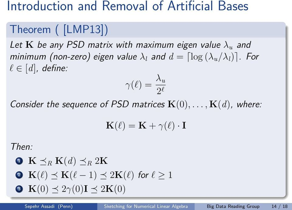For l [d], define: γ(l) = λ u 2 l Consider the sequence of PSD matrices K(0),.
