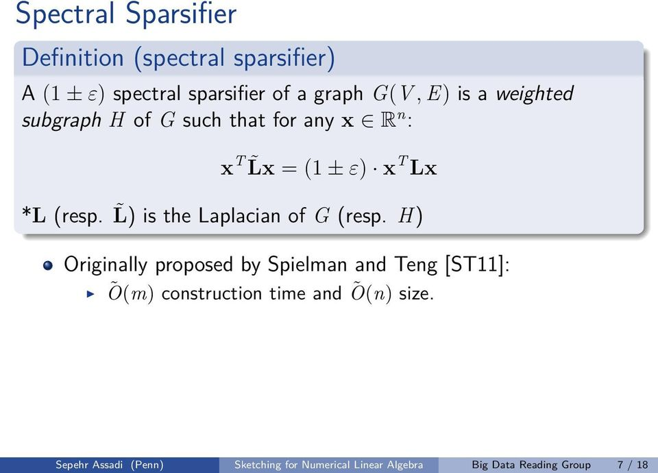L) is the Laplacian of G (resp.
