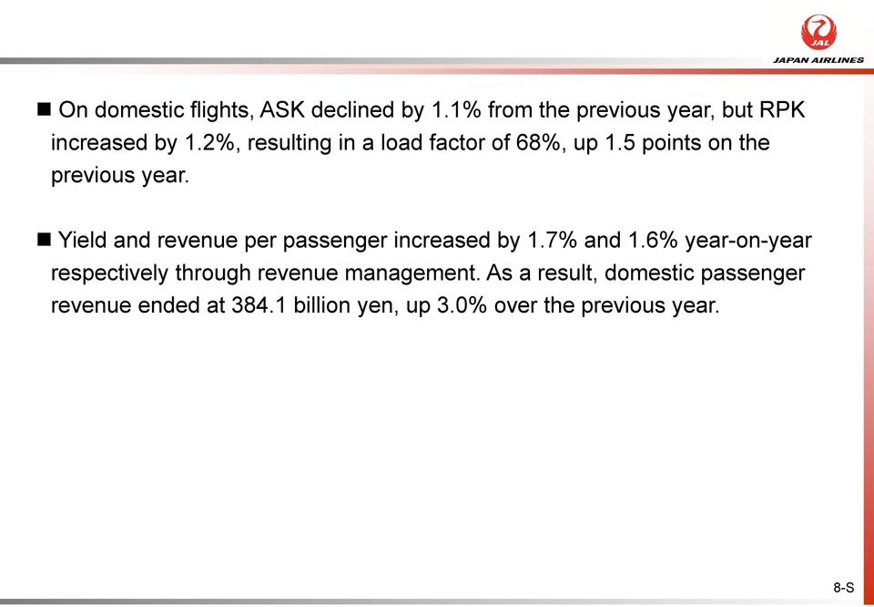 Yield and revenue per passenger increased by 1.7% and 1.