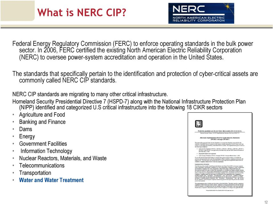 The standards that specifically pertain to the identification and protection of cyber-critical assets are commonly called NERC CIP standards.