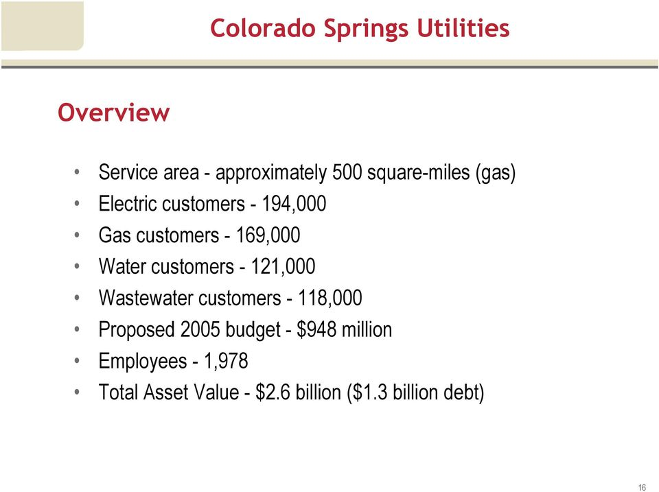 Water customers - 121,000 Wastewater customers - 118,000 Proposed 2005