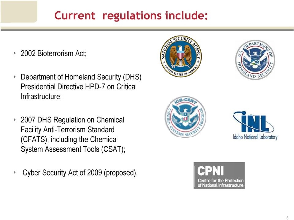 DHS Regulation on Chemical Facility Anti-Terrorism Standard (CFATS), including
