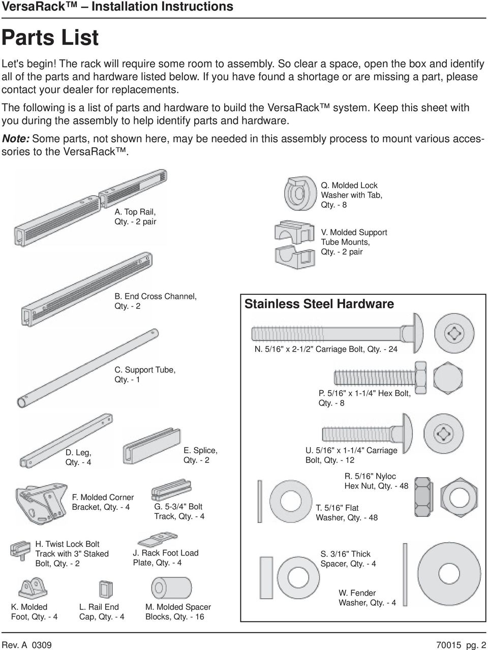 Keep this sheet with you during the assembly to help identify parts and hardware. ote: Some parts, not shown here, may be needed in this assembly process to mount various accessories to the Versaack.