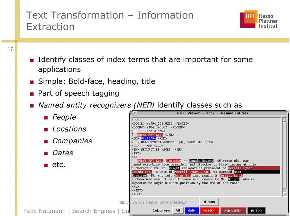 title Part of speech tagging Named entity recognizers (NER) identify classes